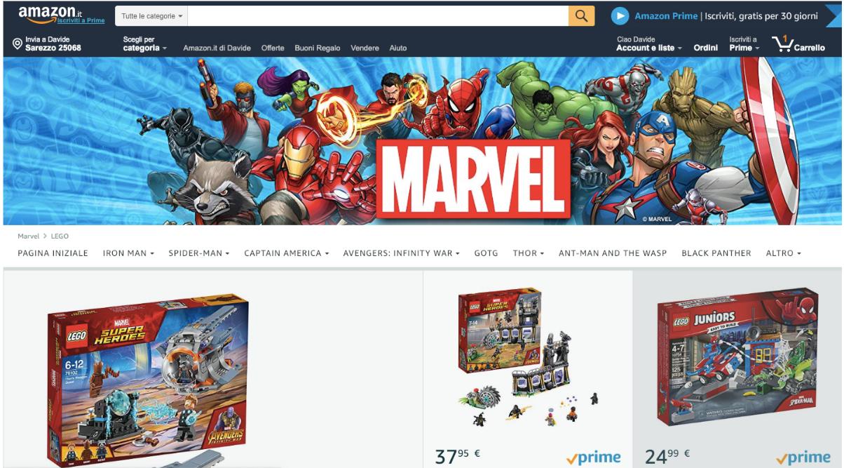 Amazon Store della Marvel